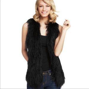 CAbi Shaggy Faux Fur Black Vest Size XS